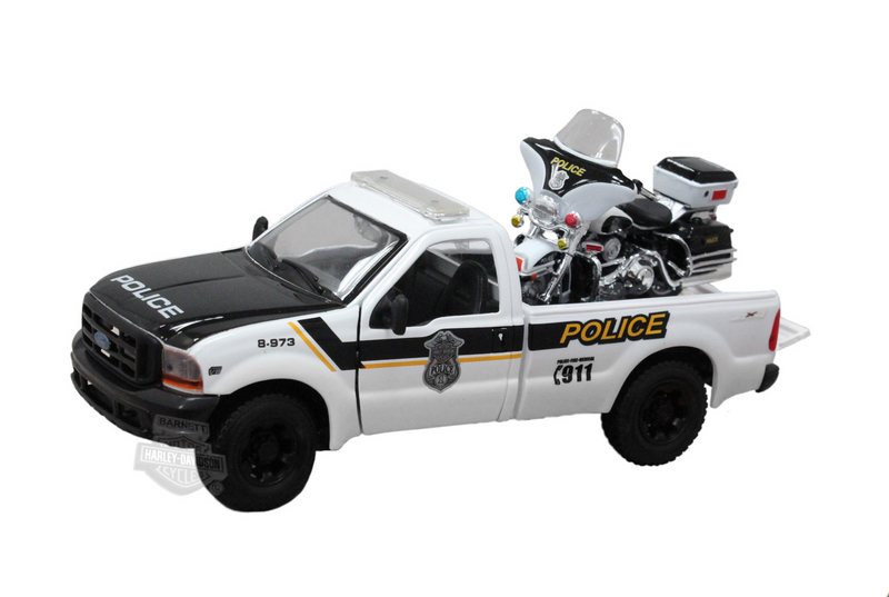 Harley-Davidson® 1999 Ford F-350 Super-Duty Pickup Police + 2004 FLHIPI Electra Glide® Police White Model Truck and Bike Set 1:2