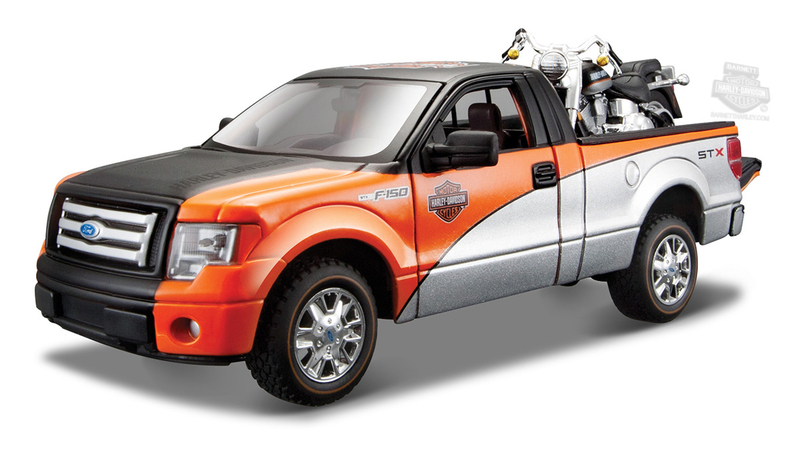 Harley-Davidson® 2010 Ford F-150 STX Tri-Color + 2000 FLSTF Fat Boy® Various Model Truck and Bike Set 1:27 Scale