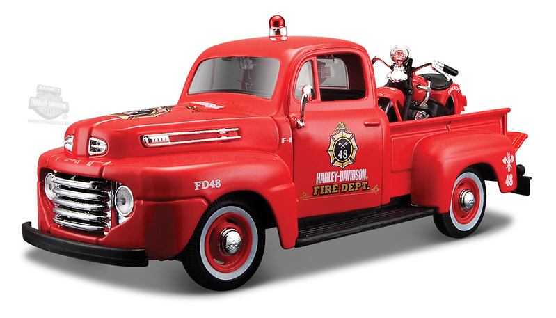 Harley-Davidson® 1936 EL Knucklehead + 1948 Ford F-1 Red 1:24 Scale Model Pickup 1:24 Scale