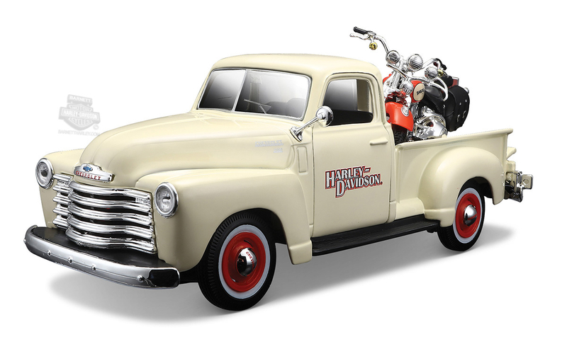 Harley-Davidson® 2001 FLSTS Heritage Springer™ + 1950 Chevrolet® 3100™ Pickup Tan 1:27 Scale Model Truck and Bike Set 1:27 Scale