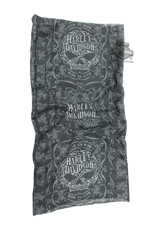 Harley-Davidson® Womens Ornate Willie G Skull Sublimated Black Polyester Multifunctional Headwear