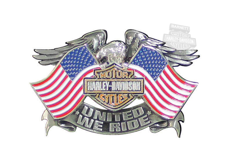 Harley-Davidson® United We Ride Eagle B&S with Flags 3D Die Cast Pin