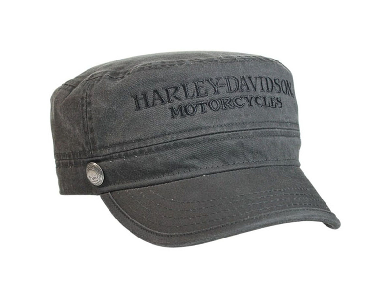 Harley-Davidson® Mens Hubcap Willie G Skull Button Pigment Dyed Black Cotton Painters Cap