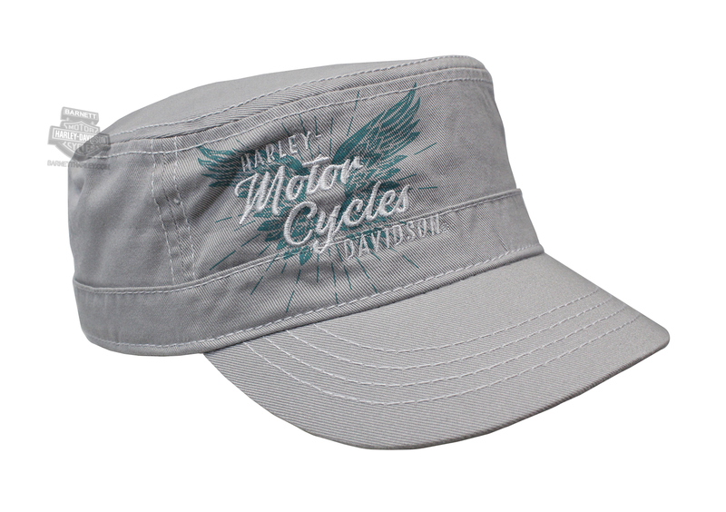 Harley-Davidson® Womens Pure Freedom Wings Grey Cotton Painters Cap