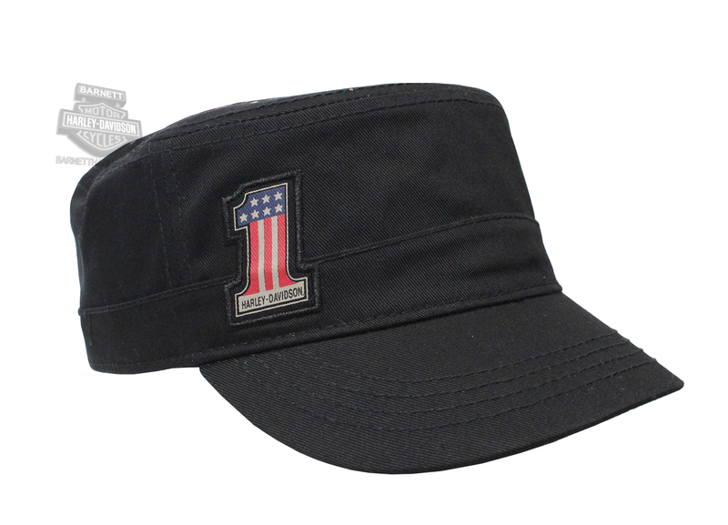 Harley-Davidson® Womens Red, White & Blue #1 Wings Black Cotton Painters Cap