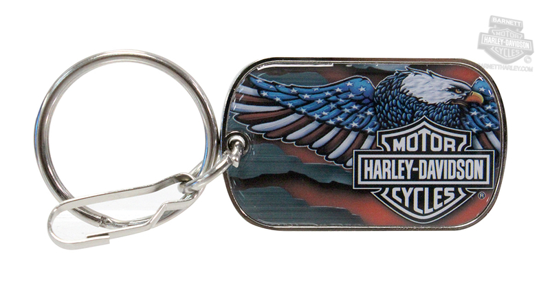 Harley-Davidson® Patriotic Eagle with B&S Tag Silver Keychain