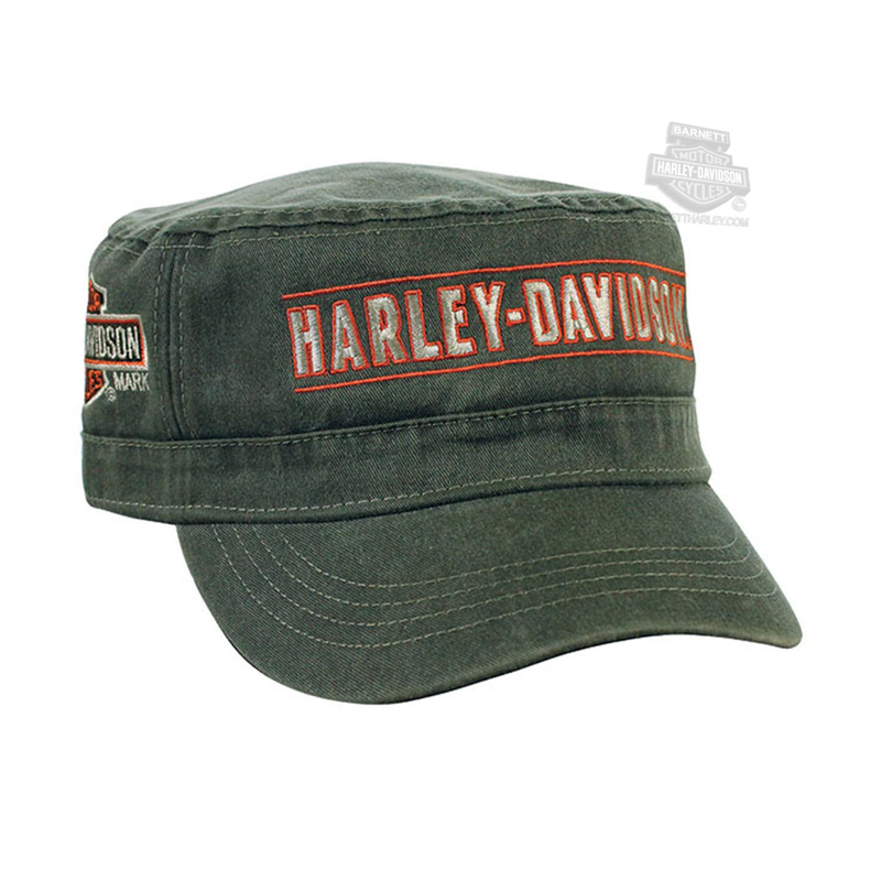 Harley-Davidson® Mens H-D Trademark B&S Pigment Dyed Green Cotton Painters Cap