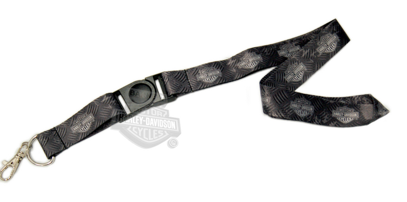 Harley-Davidson® Mens Diamond Plate with B&S All Over Black Clip Lanyard