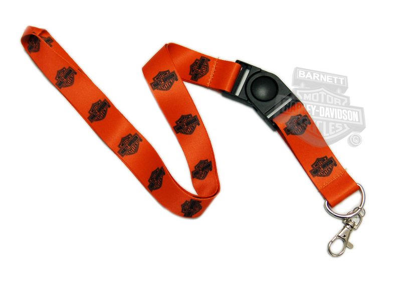 Harley-Davidson® Standard B&S All Over Orange Clip Lanyard