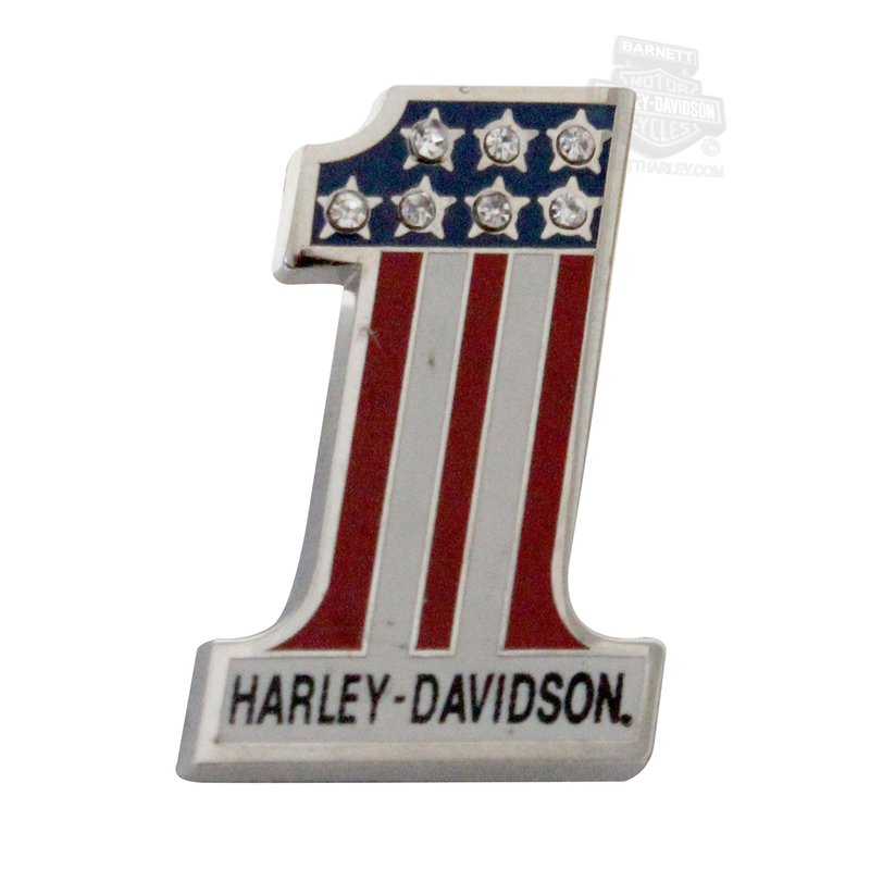 Harley-Davidson® Rhinestone #1 Logo Red White Blue Pin