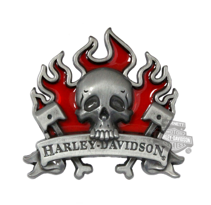 Harley-Davidson® Skull Flames Stained Glass Pin