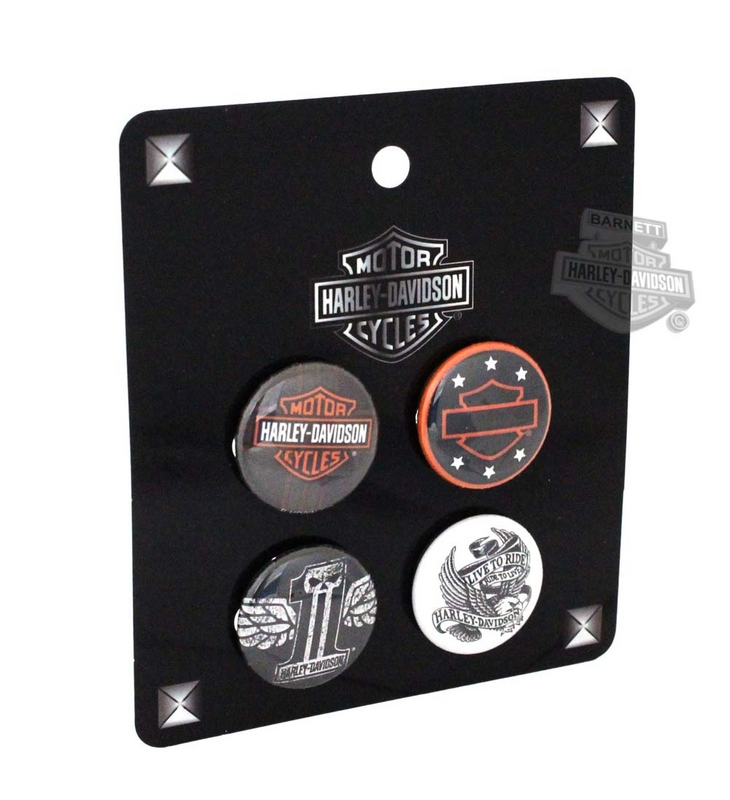 Harley-Davidson® B&S, Open B&S, #1 Skull, and LTR Eagle 4 Pack Pin Back Buttons