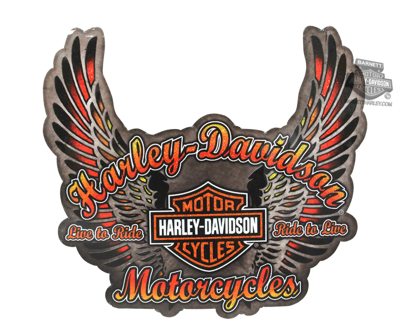 Harley-Davidson® Live To Ride Wings with B&S Glitter Sticker