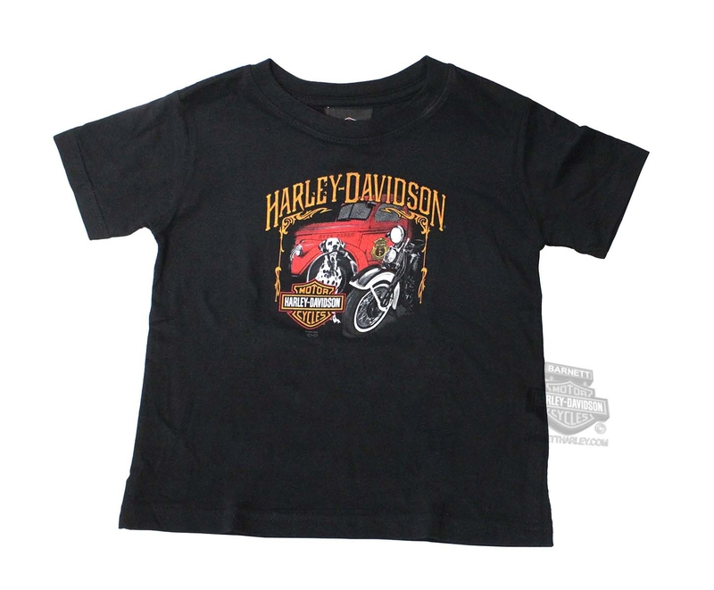 Harley-Davidson® Boys Toddler Best Friends Dalmatian with Firetruck Black Short Sleeve T-Shirt
