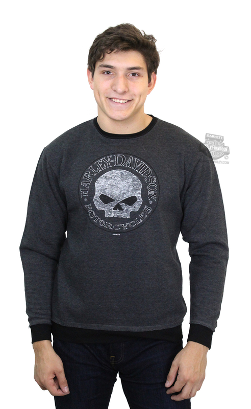 Harley-Davidson® Mens Willie G Skull Round Specialty Charcoal Long Sleeve Sweatshirt