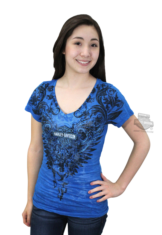 ** SIZE MEDIUM ONLY ** Harley-Davidson® Womens Onyx Wings Burnout V-Neck with Rhinestones Blue Short Sleeve T-Shirt