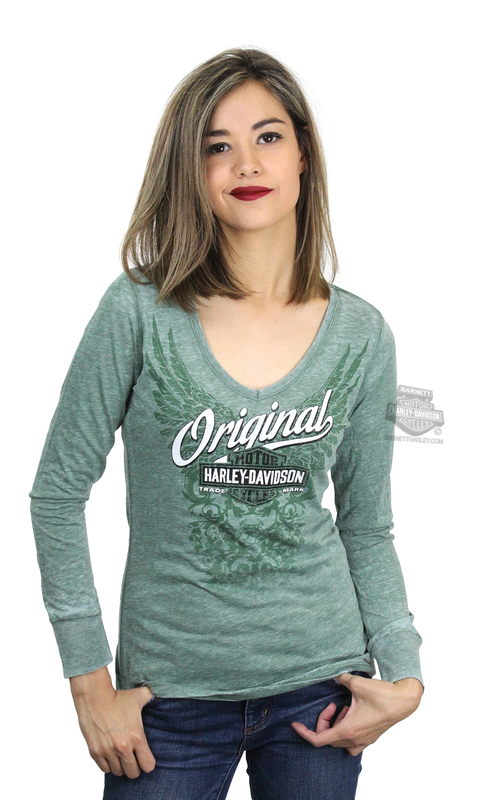 Harley-Davidson® Womens Original Scroll Wings Burnout Wash Green Long Sleeve T-Shirt