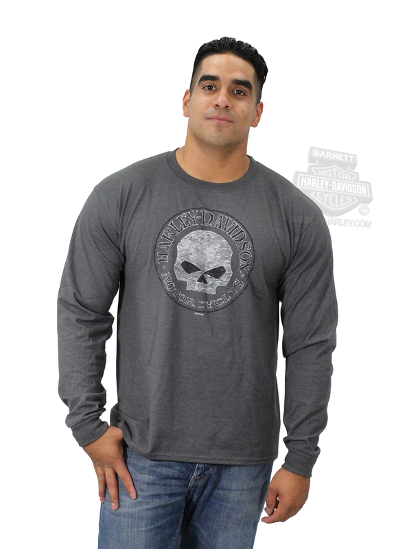 ** SIZE SMALL ONLY ** Harley-Davidson® Mens Willie G Skull Round Charcoal Long Sleeve T-Shirt