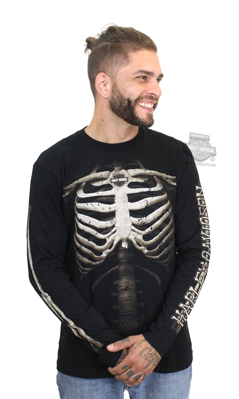 Harley-Davidson® Mens Them Bones Rib Cage with B&S Black Long Sleeve T-Shirt