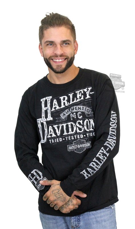 Harley-Davidson® Mens Authentic Label Trademark B&S Black Long Sleeve T-Shirt
