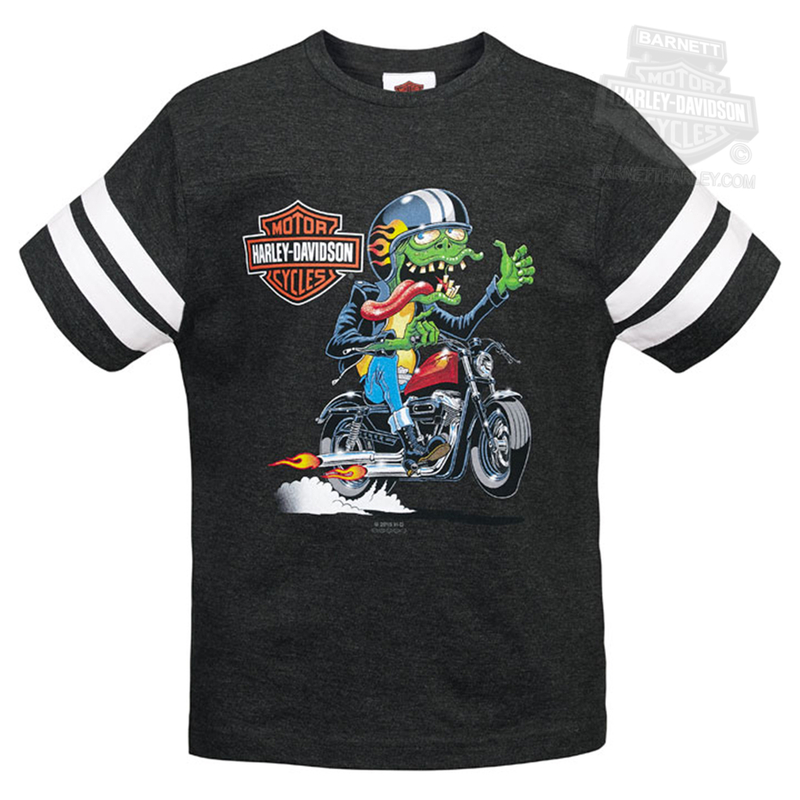 ** SIZE Small-6/8 ONLY ** Harley-Davidson® Boys Youth Smash Fink on Motorcycle Football Charcoal Short Sleeve T-Shirt *NJ19*