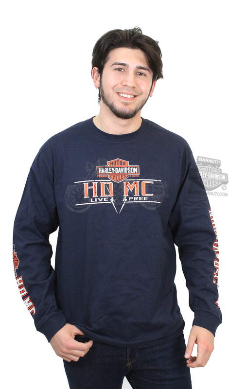 Harley-Davidson® Mens Twin Spark Motorcycle Sketch Navy Long Sleeve T-Shirt *24x3*