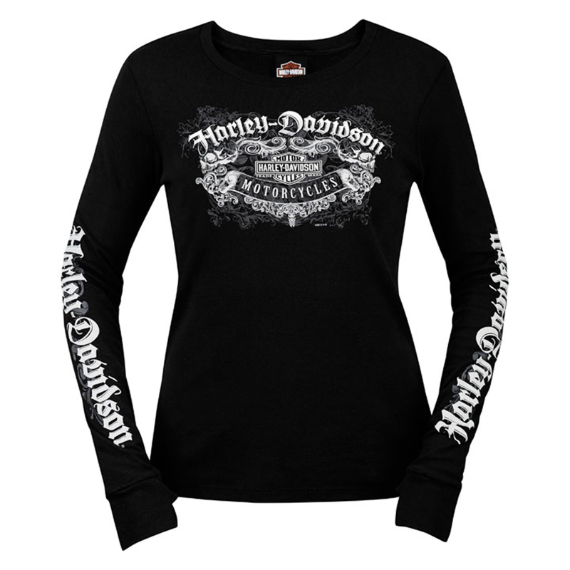 ** SMALL SIZES ONLY ** Harley-Davidson® Womens Skull Label Trademark B&S Black Long Sleeve T-Shirt