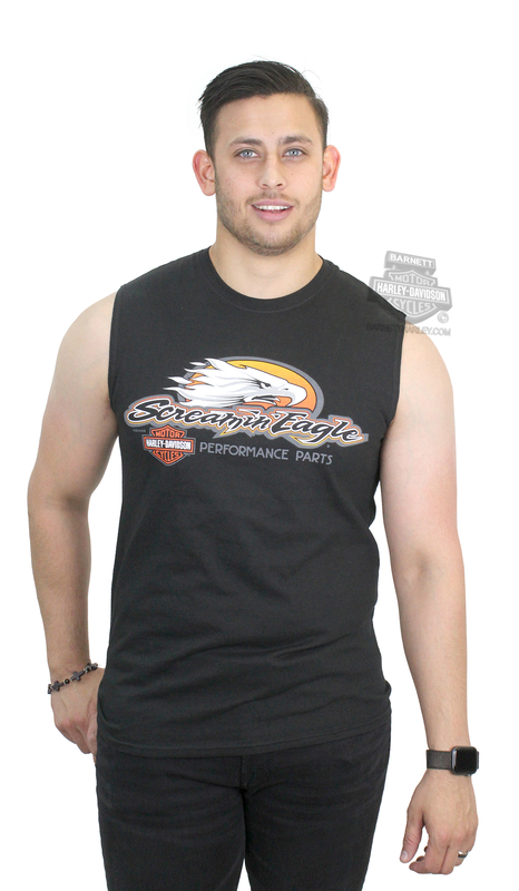 b2da08f9 Harley-Davidson® Mens Screamin Logo B&S Black Sleeveless Muscle T-Shirt *CYB