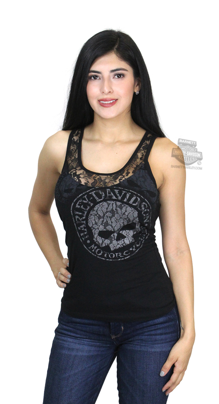 Harley-Davidson® Womens Lacey G Willie G Skull Lace Panel Black Sleeveless Tank