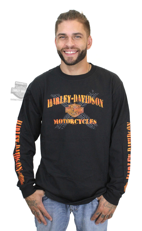 Harley-Davidson® Mens Spray Logo Tire Tread B&S Black Long Sleeve T-Shirt