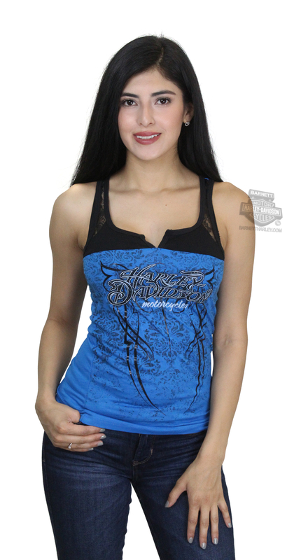 ** SIZE SMALL ONLY ** Harley-Davidson® Womens Dark Ride Foil Studded Lace Yoke Blue Sleeveless Tank