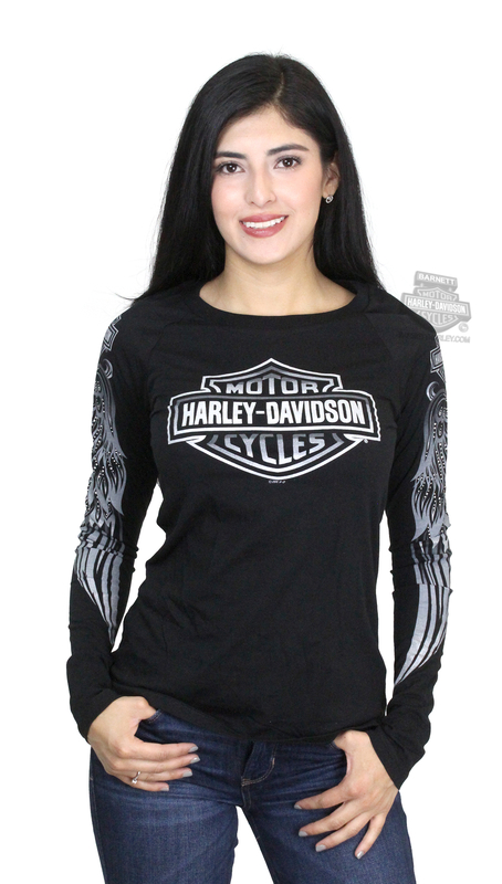 ** SMALL & BIG SIZES ONLY ** Harley-Davidson® Womens Climbing Wing Sleeve Print B&S with Studs Black Long Sleeve T-Shirt