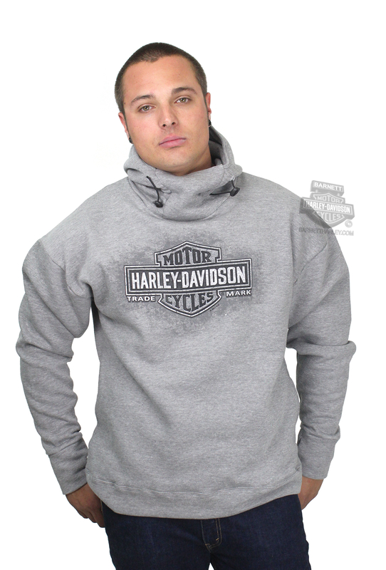 Harley-Davidson® Mens Tonal Aged Pullover Funnel Neck Grey Long Sleeve Hoodie