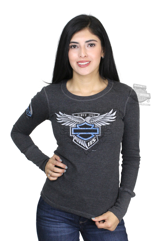Harley-Davidson® Womens Wing Emblem 115th Anniversary Charcoal Long Sleeve Thermal