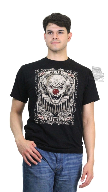 Harley-Davidson® Mens Traveling Show Clown Black Short Sleeve T-Shirt