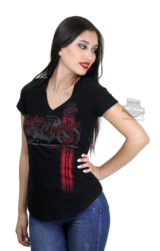 ** SIZE LARGE ONLY ** Harley-Davidson® Womens We All Ride Motorcycle V-Neck Black Short Sleeve T-Shirt
