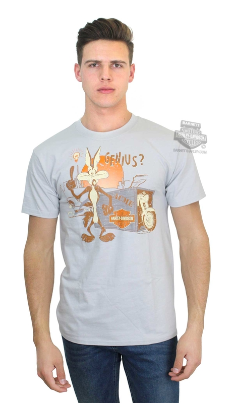 Harley-Davidson® Mens WB Genius Wile E. Coyote Grey Short Sleeve T-Shirt