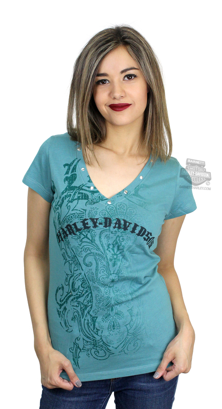 Harley-Davidson® Womens Bliss Washed Spruce with Neck Trim Green Short Sleeve V-Neck