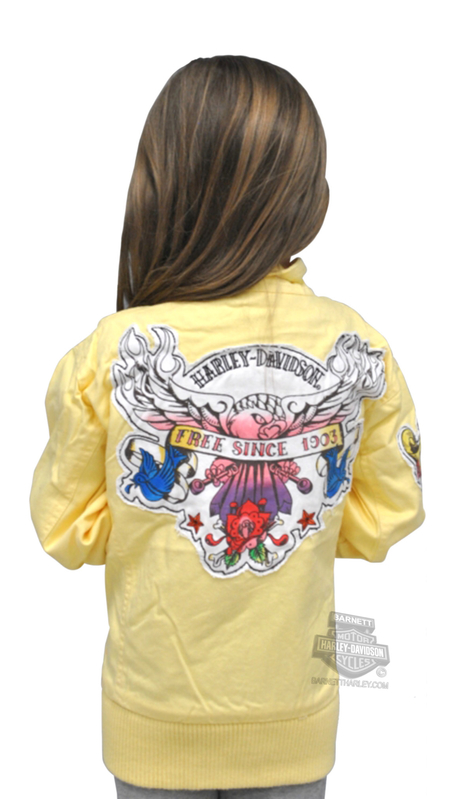 Harley-Davidson® Girls Youth Light Weight Twill Jacket Yellow Kids