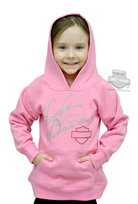 ** BIG GIRLS SIZES ONLY ** Harley-Davidson® Girls Youth Silver Foil H-D® Pullover Fleece Hoodie Pink *1919*