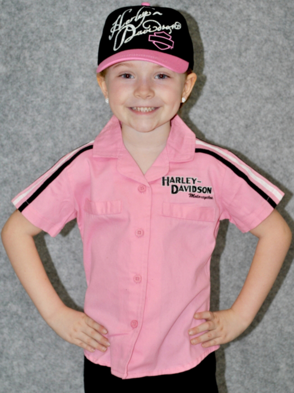 Harley-Davidson® Girls Youth Prestige Woven Pit Crew Short Sleeve Shirt Pink *CIJ*