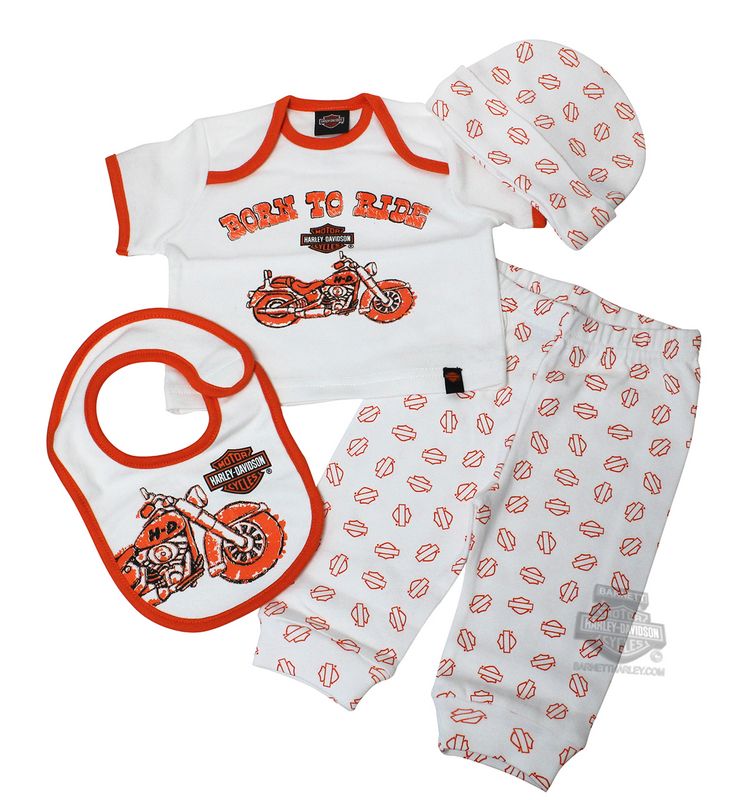 Harley-Davidson® Boys Baby 4 Piece Motorcycle Born to Ride B&S Box White Gift Set