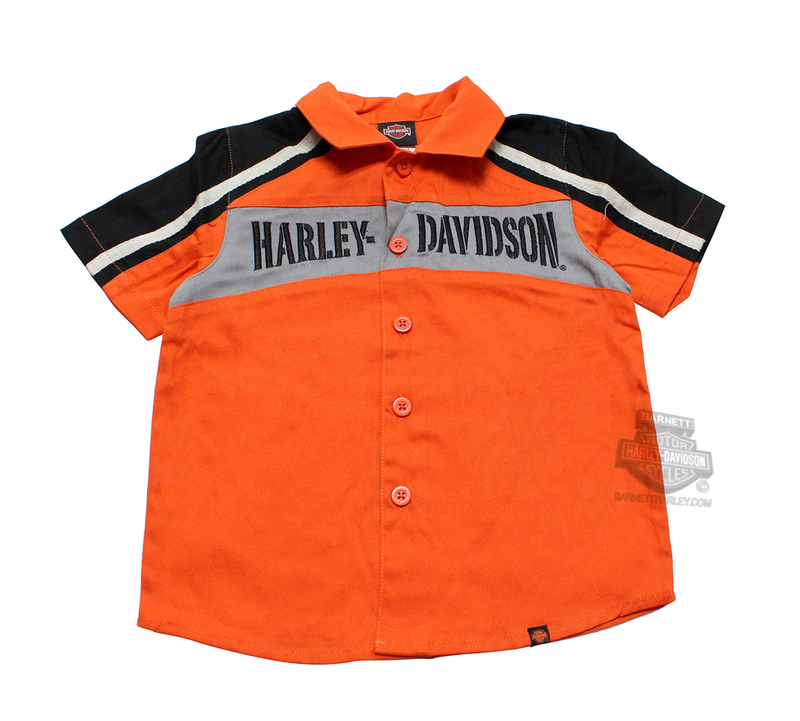 Harley-Davidson® Boys Youth Embroidered Front Panel Twill Orange Short Sleeve Woven Shirt