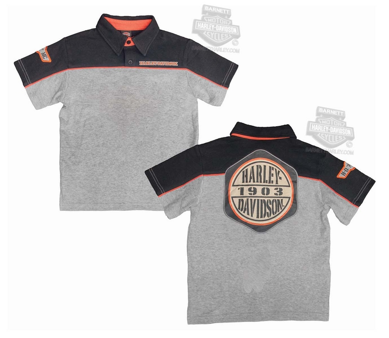 Harley-Davidson® Boys Youth Eagle Outline with B&S Logo Interlock Grey Short Sleeve Polo *48HR*