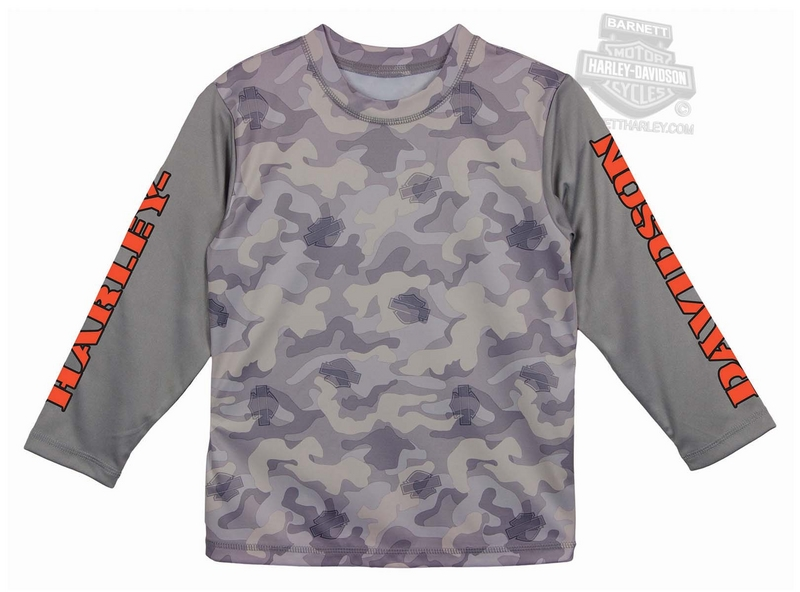 Harley-Davidson® Boys Youth Camo Printed with Shiny Ink Tech Grey Long Sleeve T-Shirt *CI1*