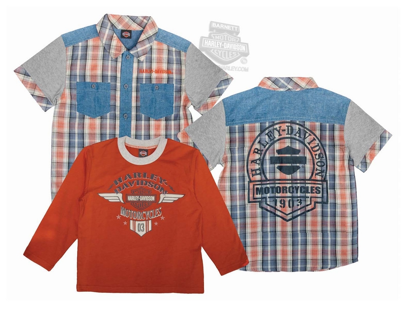 Harley-Davidson® Boys Youth 2 Piece B&S Logo Yarn Dyed Orange Shirt Set *36HR*
