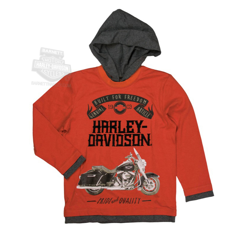 Harley-Davidson® Boys Youth H-D Motorcycle Mock Doubler with Hood Orange Long Sleeve T-Shirt *CIJ*