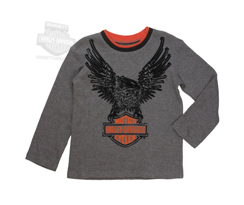4f8d7ef8 Harley-Davidson® Boys Toddler Eagle B&S with Flocking Grey Long Sleeve  Thermal *CI2