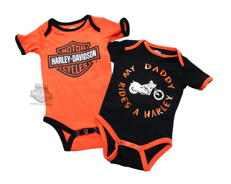 Harley-Davidson® Boys Baby Twin Pack Creeper My Daddy Rides a Harley Orange