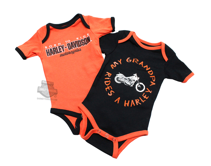 Harley-Davidson® Boys Baby Twin Pack Creeper My Grandpa Rides a Harley Orange